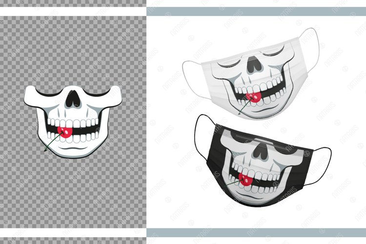 Funny skull design with Cherry for protective face mask. example image 1