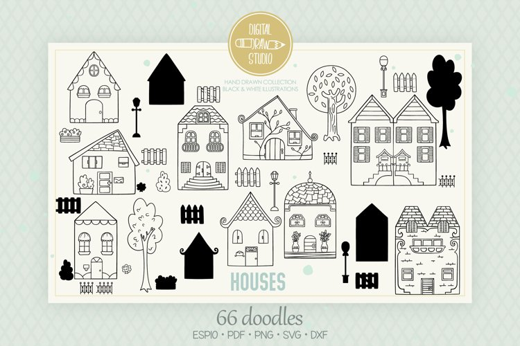 House Doodles | Home, City Building, Cottage, Tree, Fence