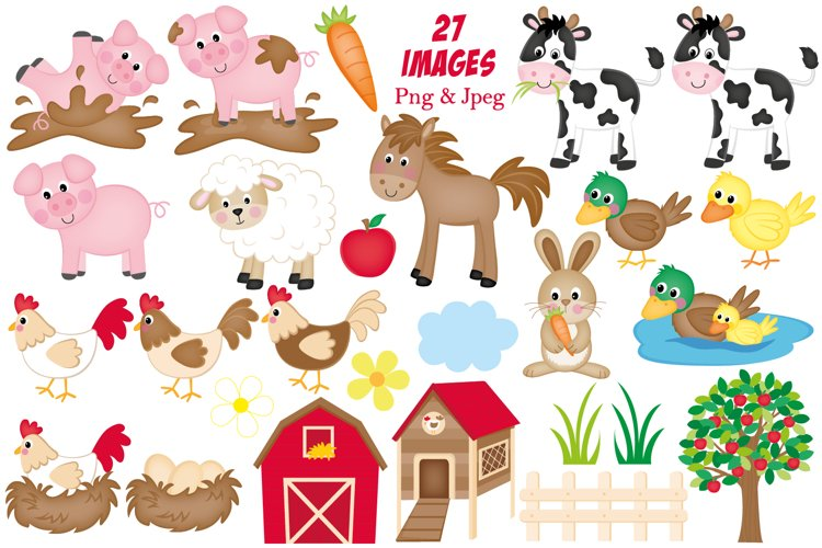 Farm clipart, Farm animals graphics & illustrations - Free Design of The Week Design1