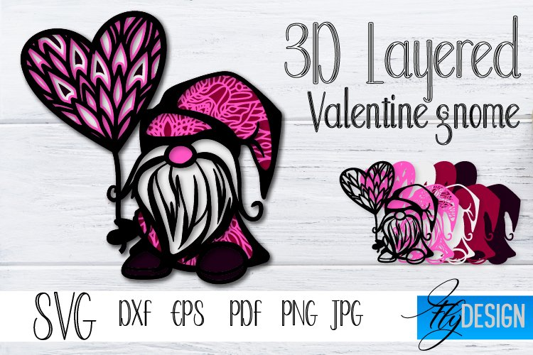 3D Layered Gnome SVG. 3D Gnome Svg. Pink Gnome Valentine SVG