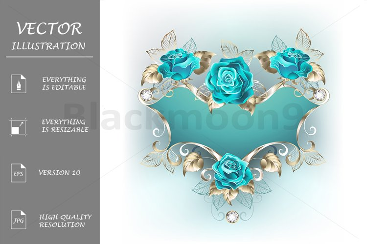 Banner with Turquoise Roses example image 1