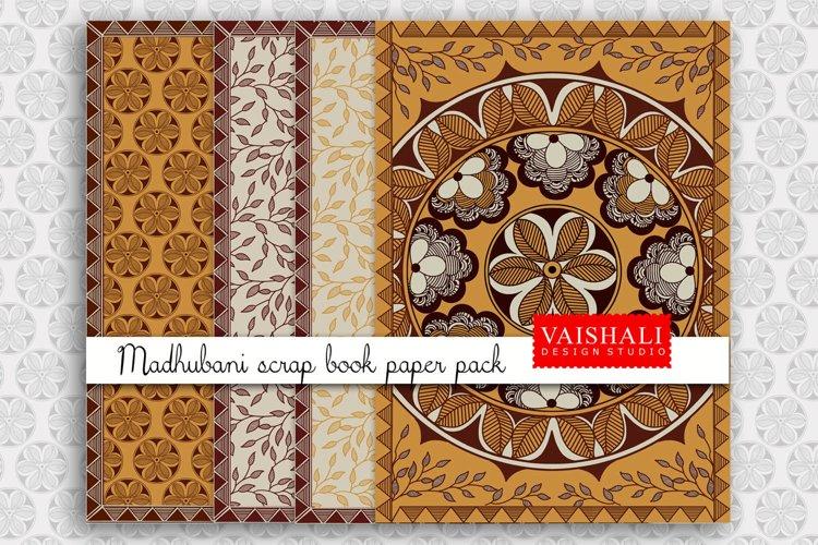MADHUBANI prints, Indian folk art, set of 4 prints