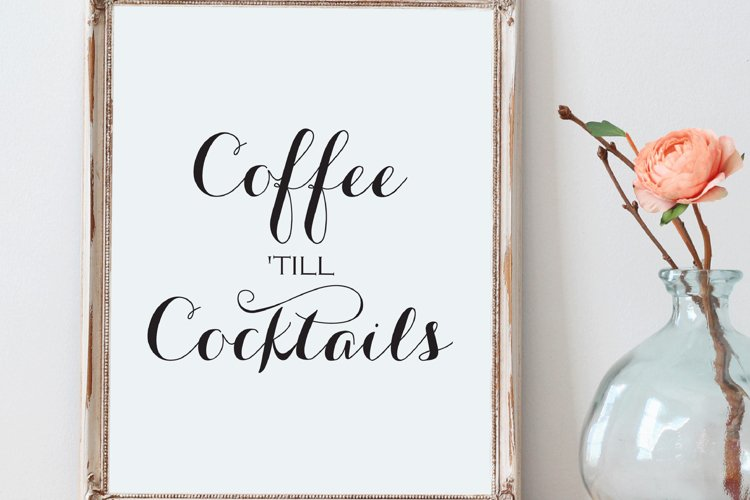 Coffee Till Cocktails Print Minimalist Kitchen Sign example image 1