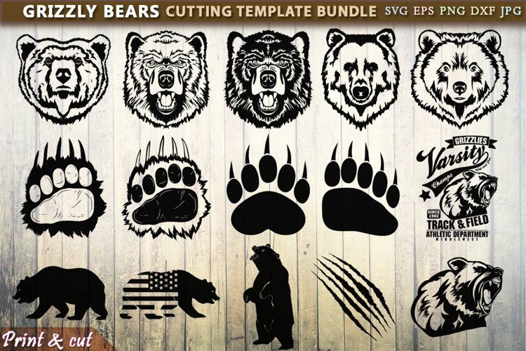 Grizzly Bears Cutting SVG Template Bundle