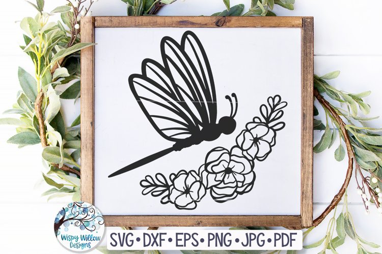 Dragonfly with Flowers SVG Cut File
