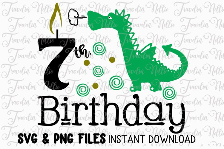 7th Birthday Dragon SVG Cut File Cricut Silhouette Mummy example image 1