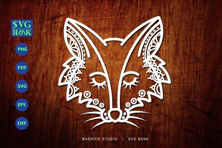 Fox SVG, Fox Head, Mandala fox cut file, zentangle fox head