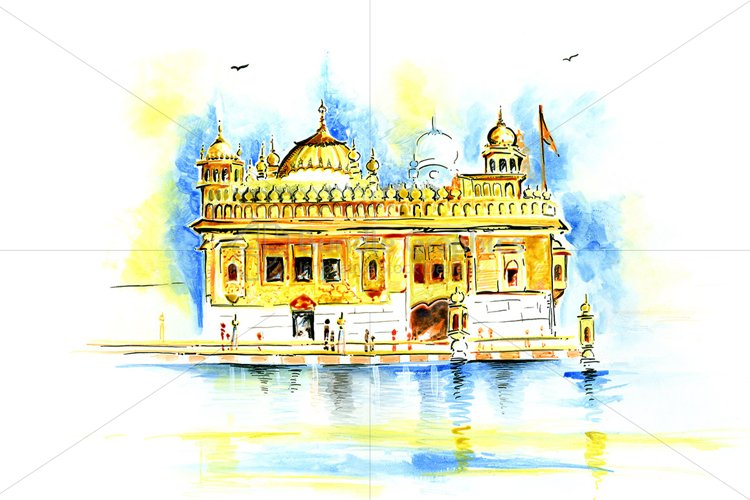 Golden Temple - Handmade Painting example image 1