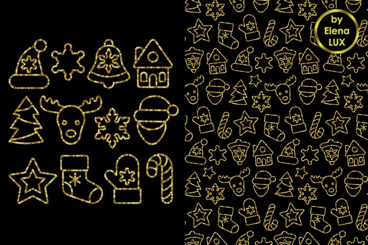 Christmas Toys Sets and Seamless Patterns example image 1
