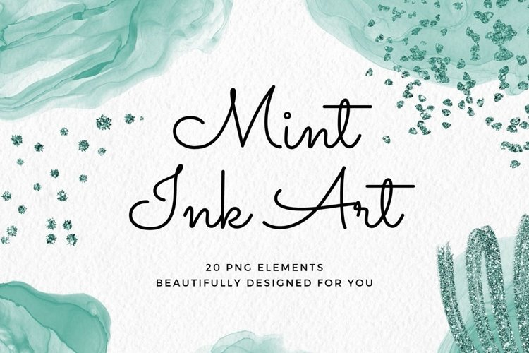 Green Mint Ink Art Abstract Clipart Set example image 1