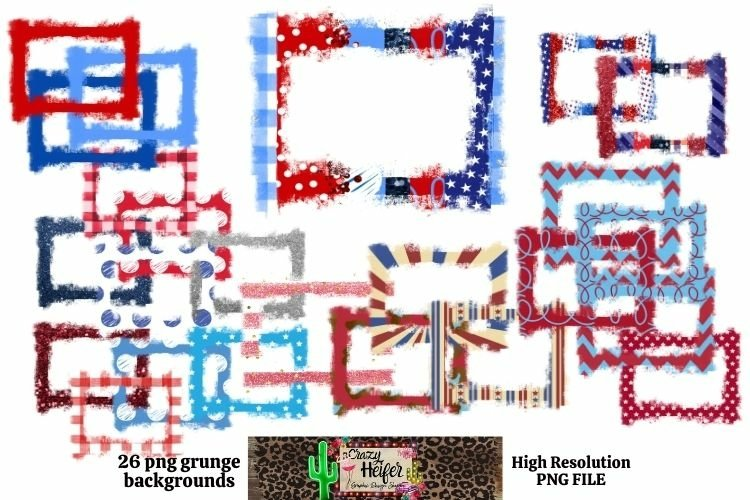 Patriotic July 4th Grunge Frames for Dye Sublimation example image 1