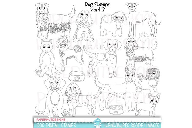 Dogs Stamp Clipart Part 3 Digital Black and White Dogs
