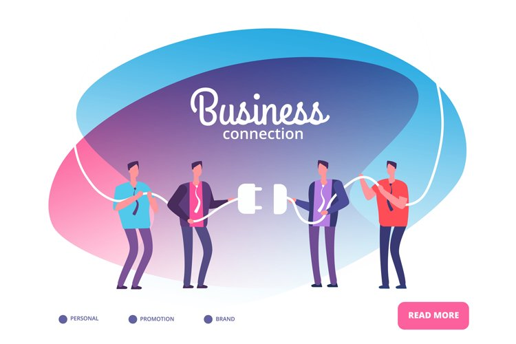 Business teams connect plug. Businessmen connecting connecto example image 1