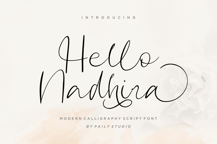 Hello Nadhira Modern Calligraphy Script Font example image 1