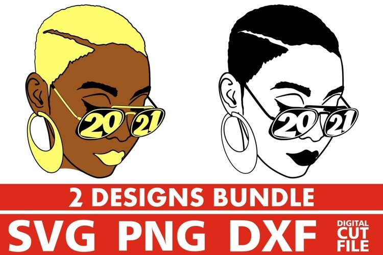 2x Blond Woman in Glasses Bundle svg, Afro svg, Year 2021 example image 1