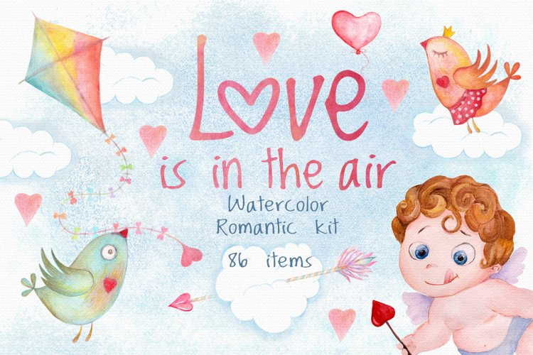 Romantic watercolor set. Love is in the air example image 1
