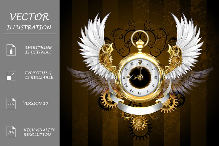 Gold Watch with White Wings ( Steampunk ) example image 1