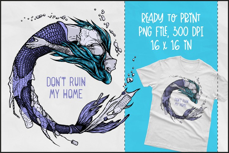Save Mermaids T-shirt Design, Mermaid Sublimation PNG example image 1