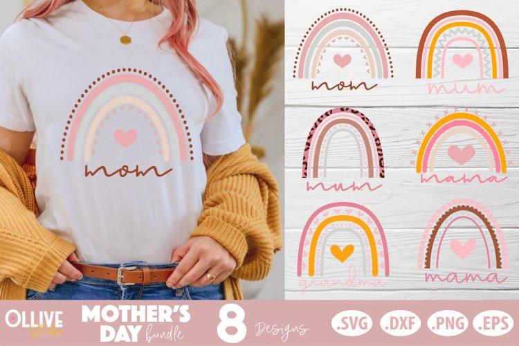Mother's Day Boho Rainbow SVG Bundle, Mothers Day Bundle example image 1