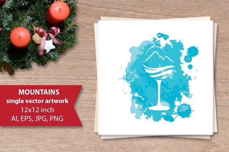 Mountain peaks cocktail, SINGLE VECTOR ARTWORK example image 1