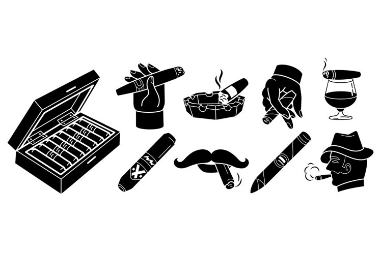 Cigar icons set, simple style