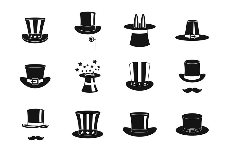 Top hat icon set, simple style example image 1