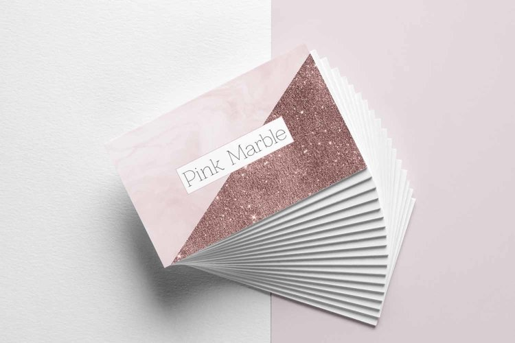 Pink Marble and Glitter Business Card Template example