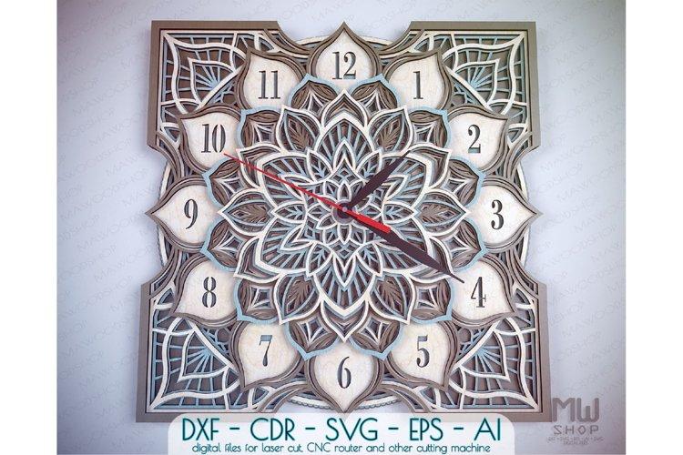C16 - Laser Cut Wall Clock DXF, Mandala Clock, Wooden Clock example image 1