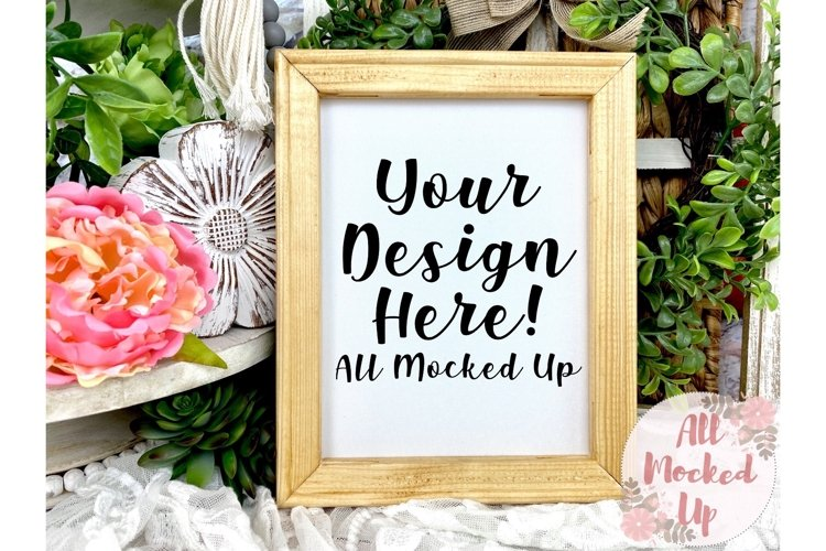 Natural Stained Canvas Sign Mock UP Image Flat Lay 3/21