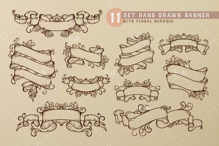 11 Set Hand Drawn Baroque Banner example image 1