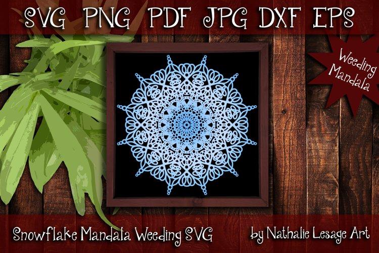 Snowflake Mandala SVG Zentangle Winter Weeding Cut File example image 1