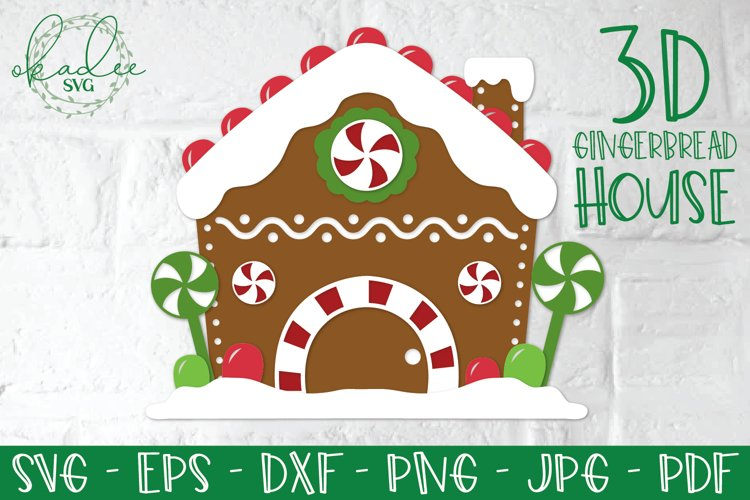 3D Gingerbread House SVG, Papercut Gingerbread House example
