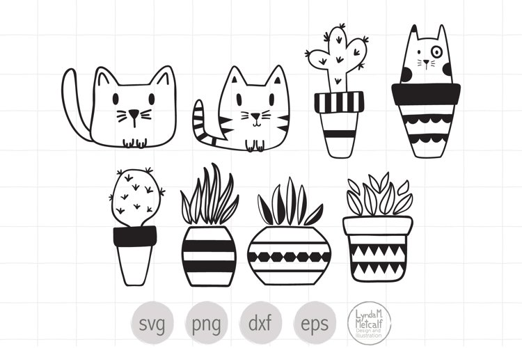 Cats, Plants and Cacti SVG Bundle, Cut File for Cricut