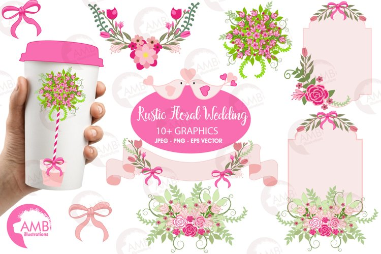 Floral Wedding clipart, graphics, illustrations AMB-859 example image 1