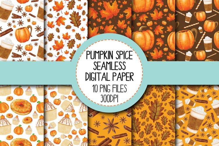 Watercolor Pumpkin Spice Seamless Digital Papers Set 1