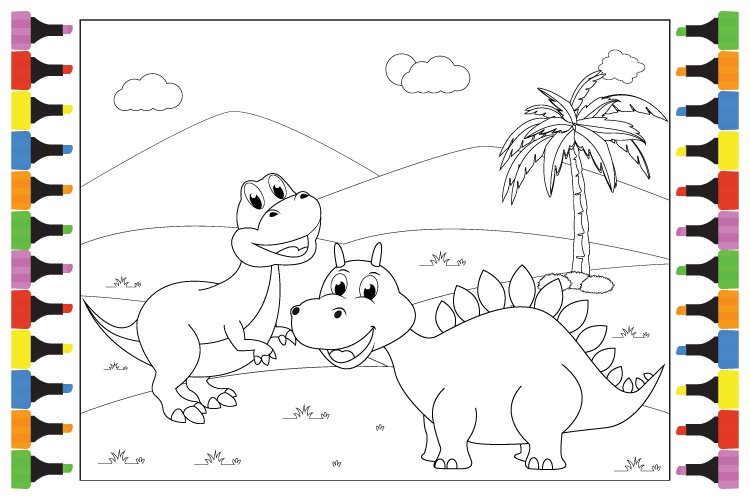 Coloring Cute Dinosaur For Kids, Simple Vector Illustration example image 1