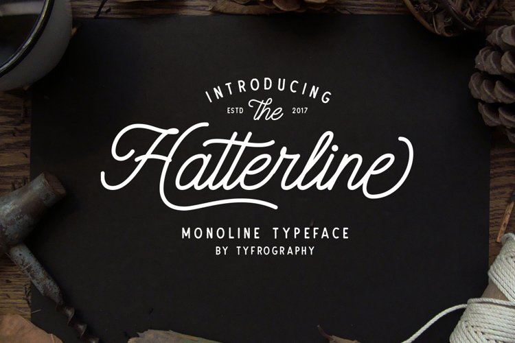 Hatterline Font + Sans example