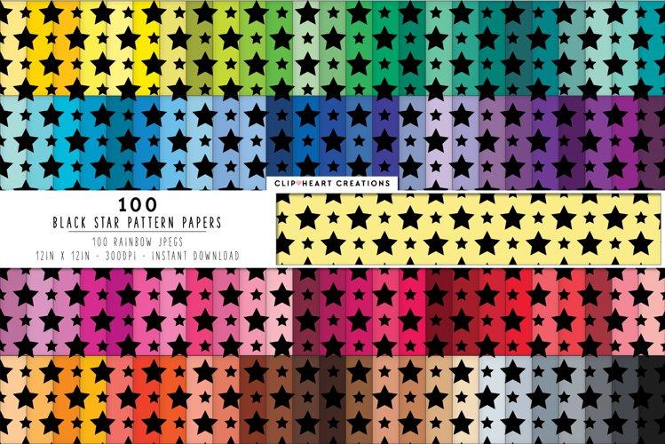 100 Black Stars Pattern Digital Papers - rainbow colors