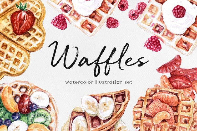 Watercolor food set illustrations. Waffles. Homemade food.