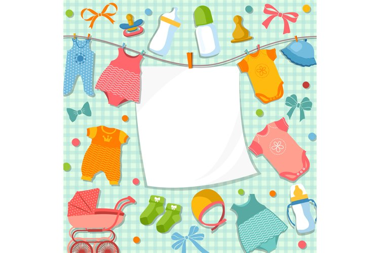 Cute frame for scrapbook new born baby. Funny pictures set f example image 1