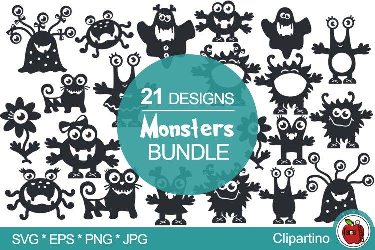 Cute monsters SVG Bundle-little monsters cut file