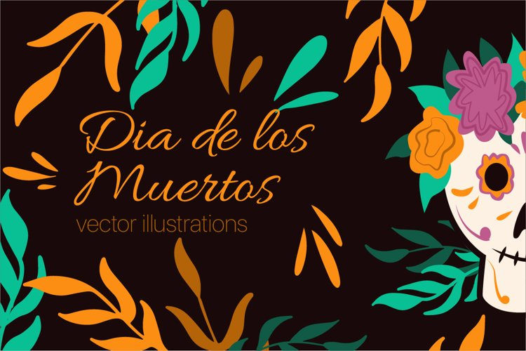 Mexican Day Of The Dead vector illustrations example image 1