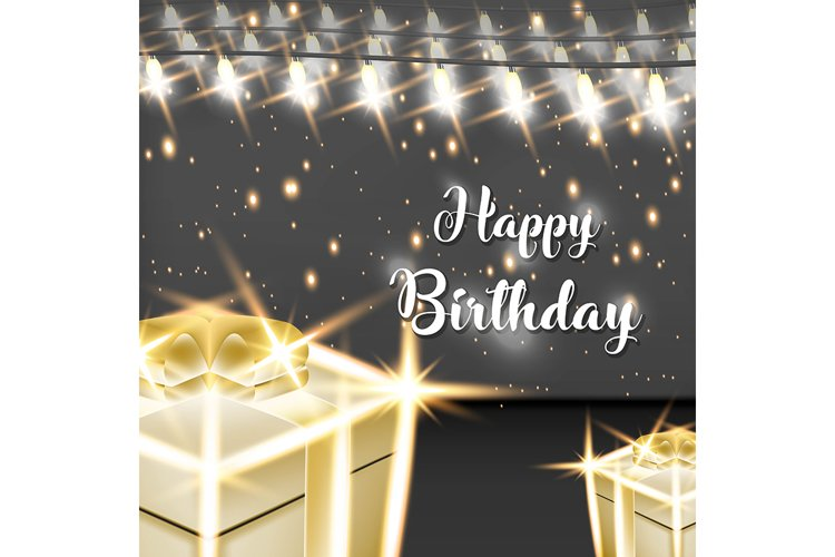 Happy birthday vector design with Lamp and gold gift box for
