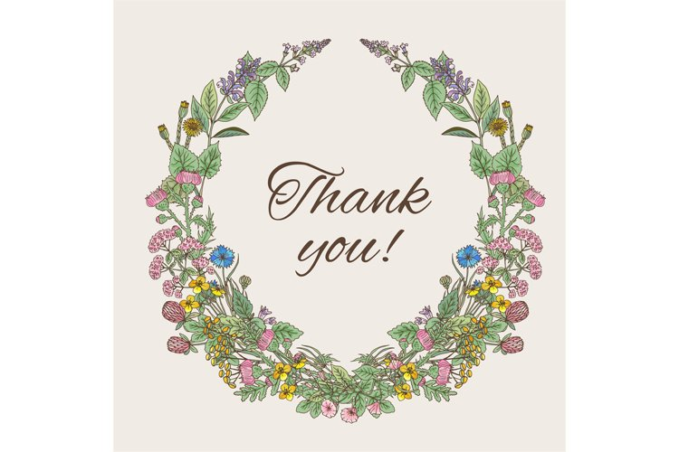 Thank you card. Inscription inside the wreath of hand drawn example image 1