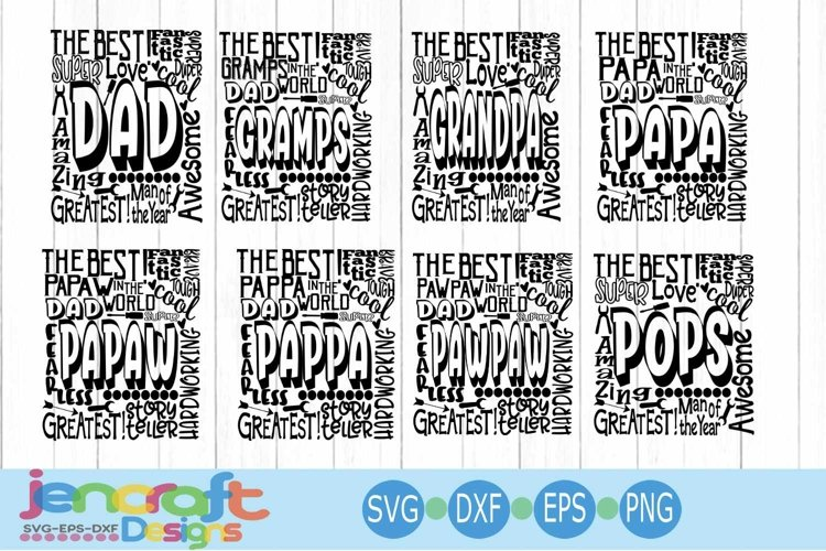 Fathers Day Typography Bundle word art Svg, Eps, Dxf