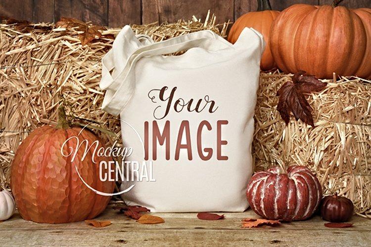 White Halloween Fall Tote Bag Mockup, JPG Photo example image 1