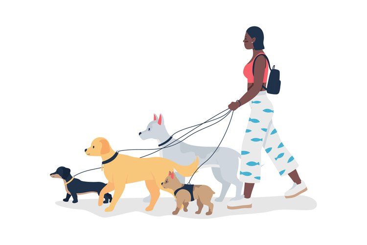 African girl walking dogs on leashes flat vector character