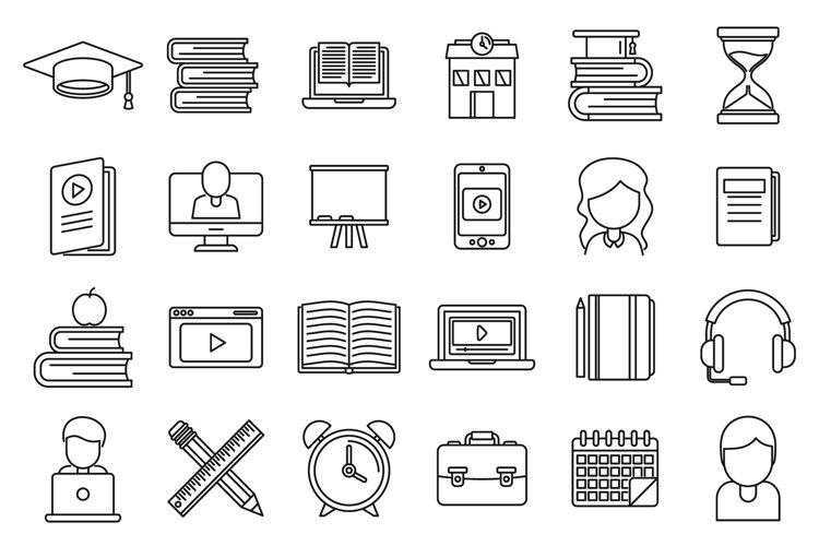 Tutor teacher icons set, outline style example image 1