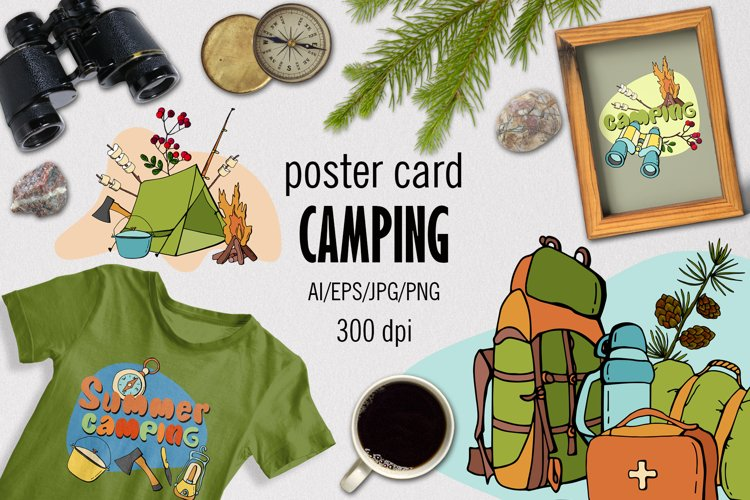 CAMPING - Poster card