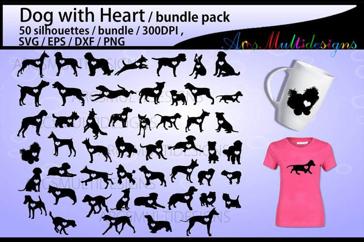 Dog with heart svg silhouette / 50 dogs with heart